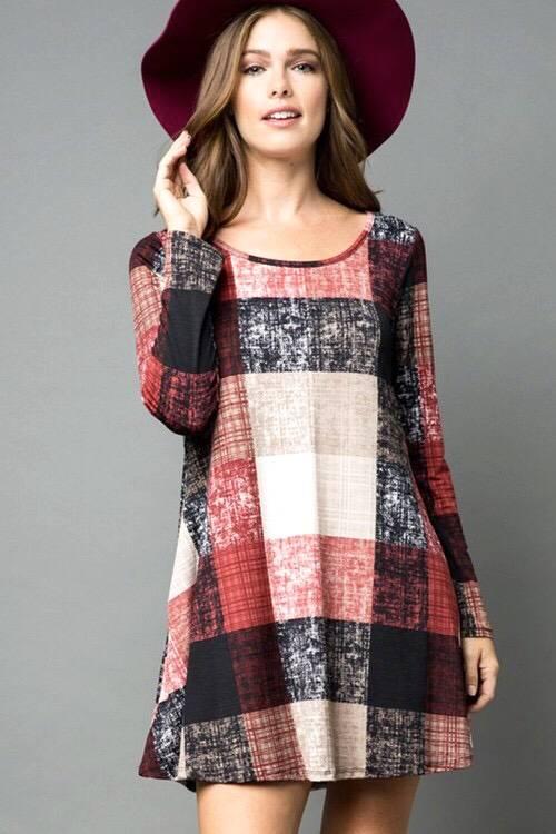Burgundy Plaid Swing Dress