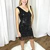 Black Sleeveless Sequin Pattern Dress