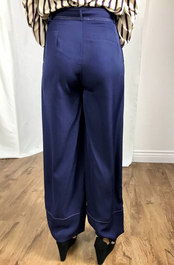 Navy High Rise Pant with Belt