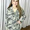 Faded Camouflage Lace Up Top w/ Hood