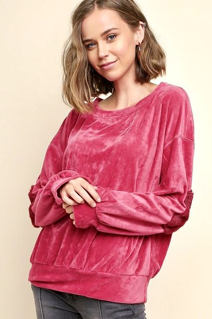 Magenta Velvet Pullover Sweater with Elbow Patch