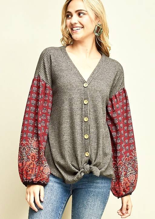 Button Down Top with Balloon Sleeve