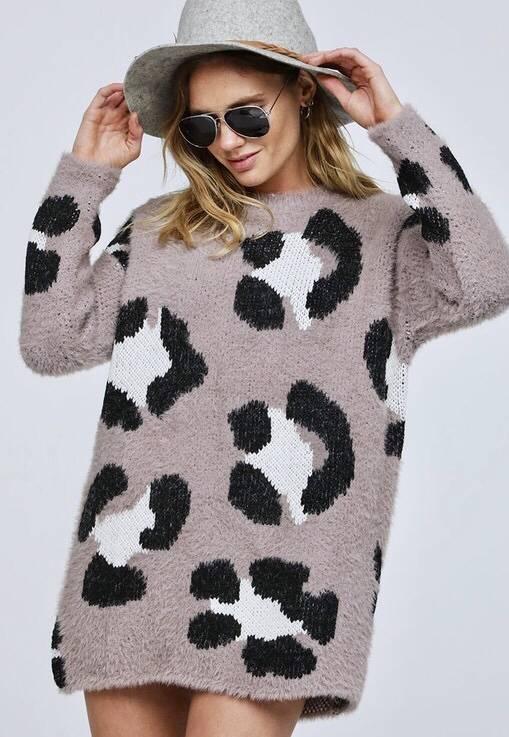 Mocha Leopard Print Sweater
