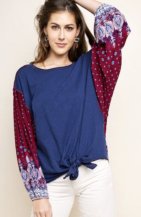 Navy Tie Top with Paisley Puff Sleeve
