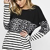 Black/Leopard/Ivory Blocked Knit Top