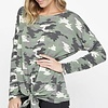 Camouflage Terry Top with Front Tie