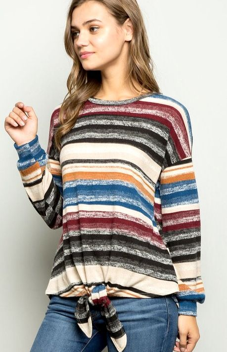 Multi Striped LS Top with Front Tie