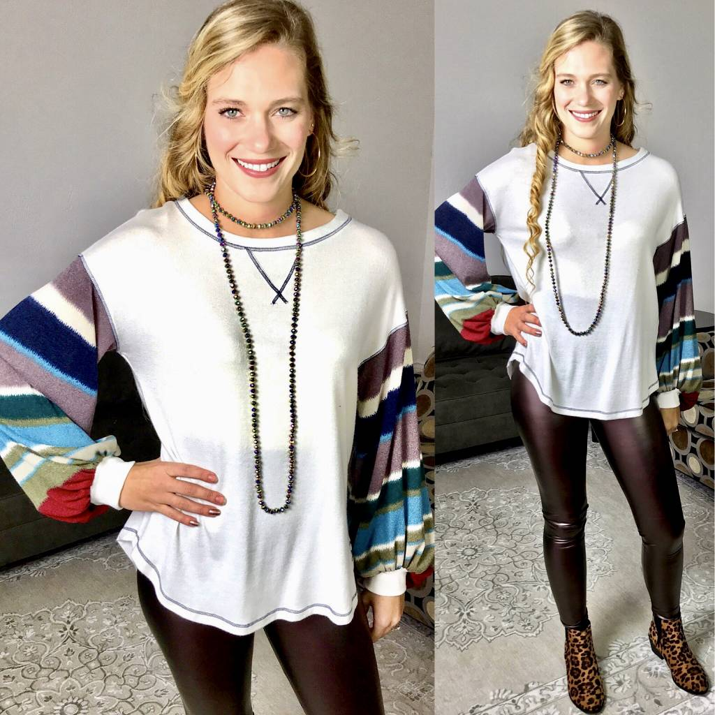 Ivory Top with Multi Colored Balloon Sleeve- SALE ITEM