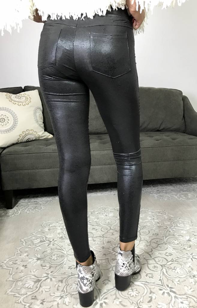 Shiny Black High Waisted Moto Leggings