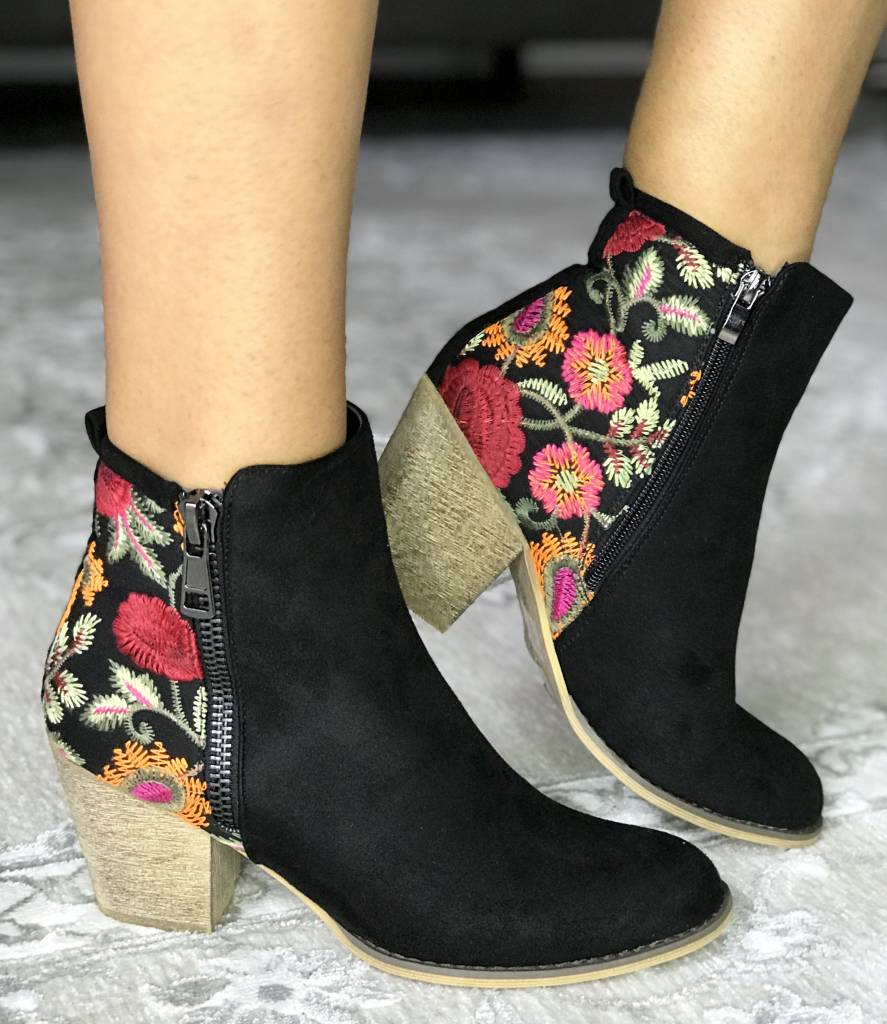 Floral Embroidered Bootie with Side Zipper- More Colors