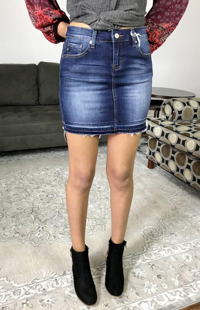 Kan Can Dark Wash Stretchy Denim Skirt