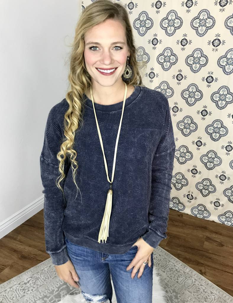 Navy LS Ribbed Sweater