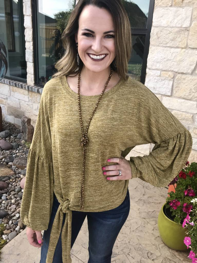 Mustard Puff Sleeve Top w/ Side Tie