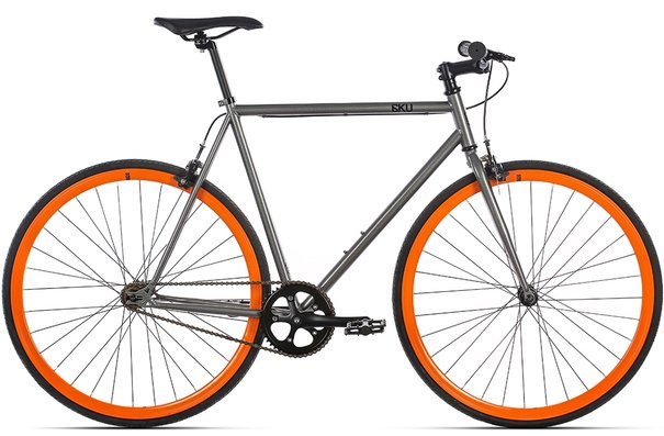 6KU Steel Fixie, Barcelona (Silver/Orange), 49cm