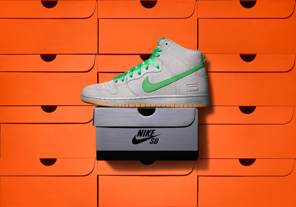 Nike SB Dunk High Shoes Grey/Green