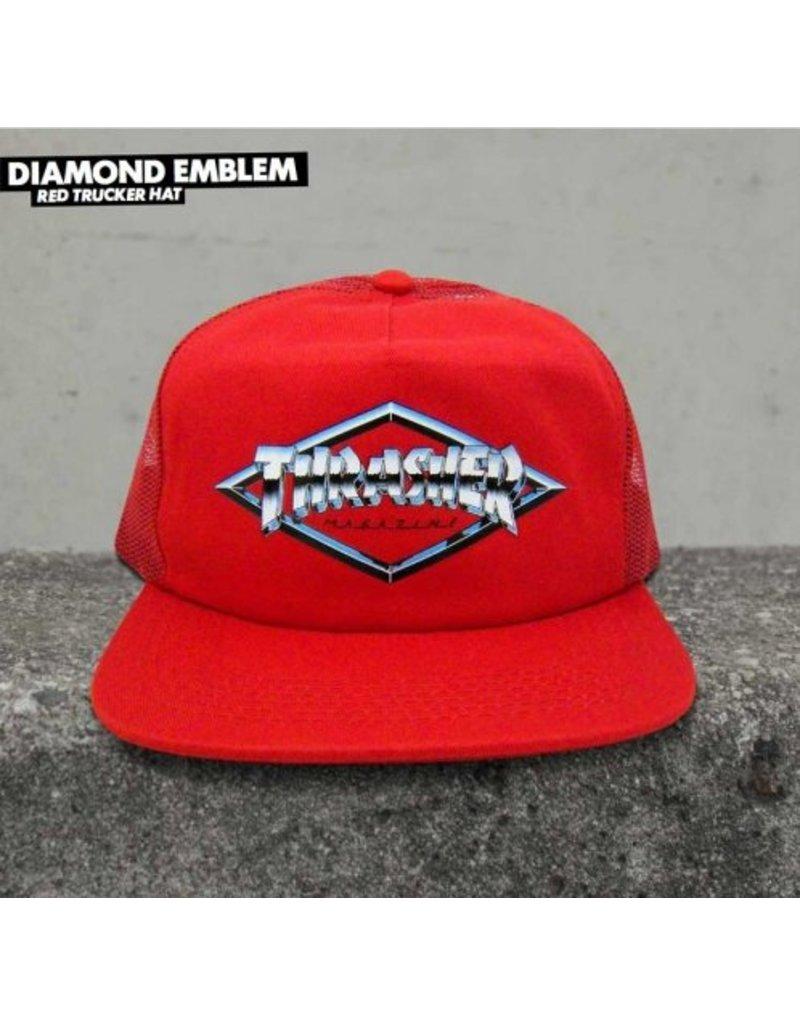 Thrasher Thrasher Diamond Emblem Trucker Hat (red)