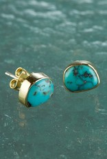 Roost Turquoise & Brass Cabochon Post Earrings