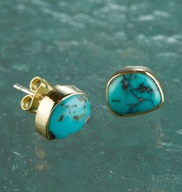 The Birch Store Turquoise & Brass Post Earrings