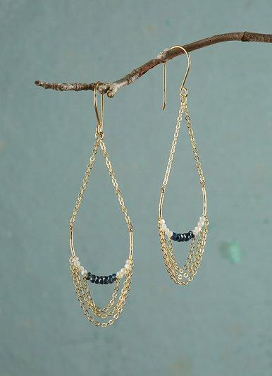 The Birch Amira Blue Chain Chandelier Earrings