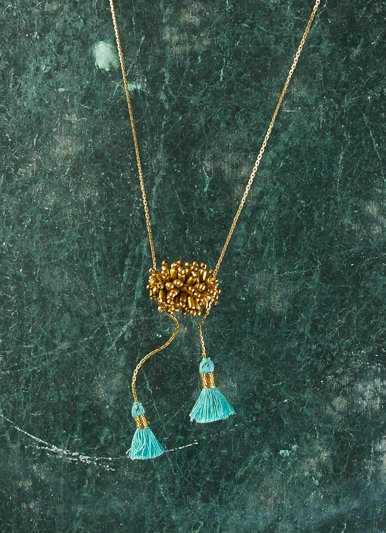 Vagabond Vintage Gold Metal Necklace with Turquoise Tassel