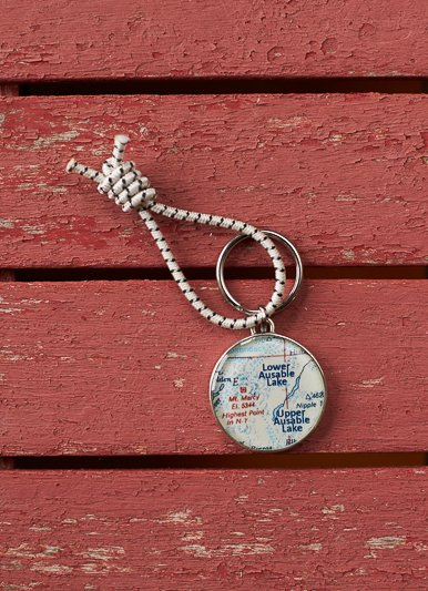 Chart Metalworks Ausable Lakes Key Ring