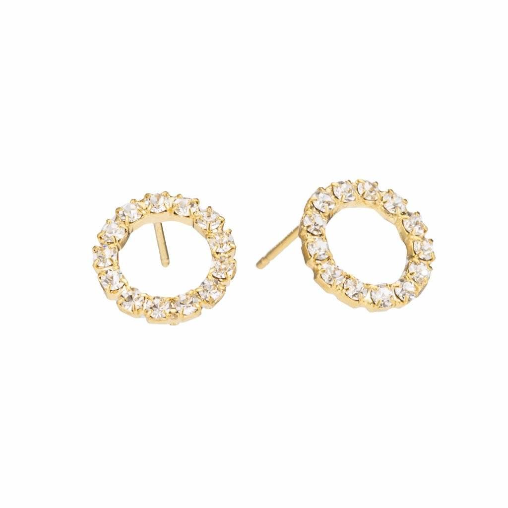 Padgett Hoke Swarovski Crystal Hoop Gold Post Earrings