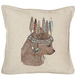 Coral & Tusk Embroidered Bear Pillow