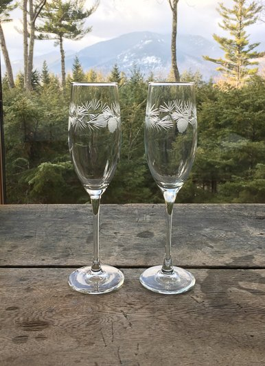 The Birch Store Icy Pine Flute Set of 2
