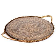 Calaisio Round Woven Tray with Glass