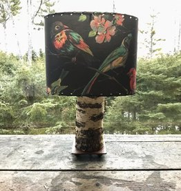 Found Images Birch Bark Lamp with Bird Shade