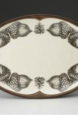 Laura Zindel Small Oval Platter Double Acorn Brown
