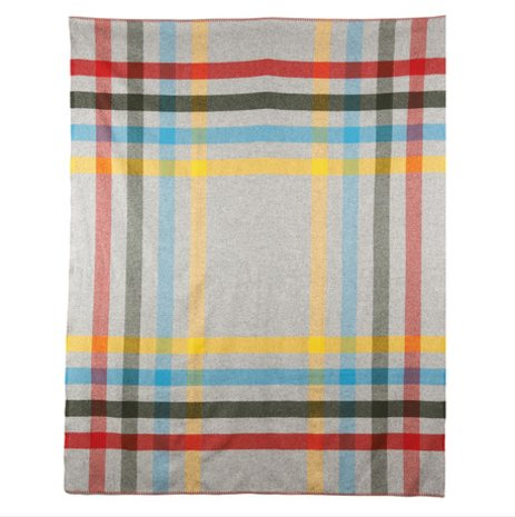 Woolrich Grey Plaid Wool Throw