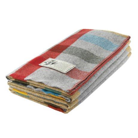 Woolrich Grey Plaid Wool Throw