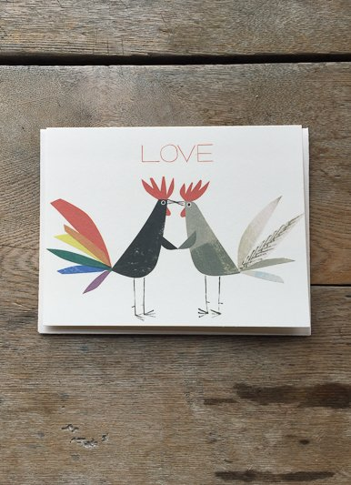 Red Cap Cards Rooster Love Card