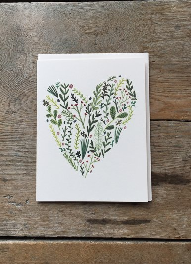 Red Cap Cards Floral Heart Card