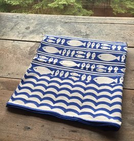 Natural Habitat Blue Fish Cotton Tablecloths