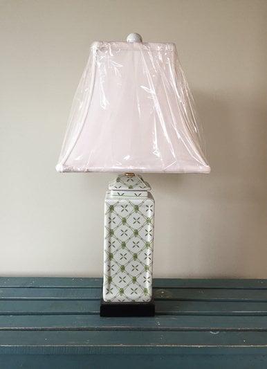 East Enterprises Green & White Table Lamp