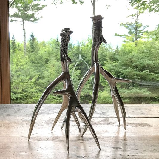 Roost Medium Polished Antler Candlesticks