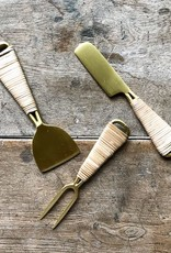 Roost Brass & Rattan Cheese Fork^