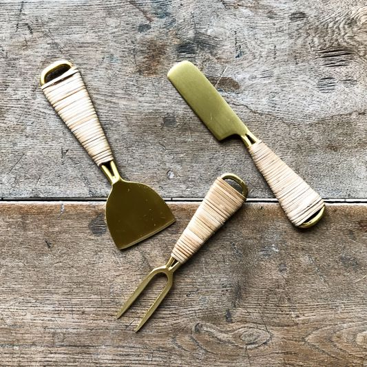 Roost Brass & Rattan Cheese Fork