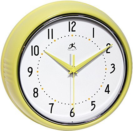 Infinity Instruments Retro Round Metal Wall Clock Yellow^