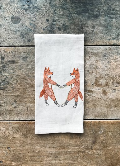 Coral & Tusk Fox Love Linen Tea Towel