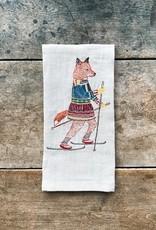 Coral & Tusk Skiing Fox Linen Tea Towel
