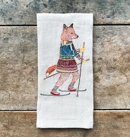 The Birch Store Skiing Fox Linen Tea Towel