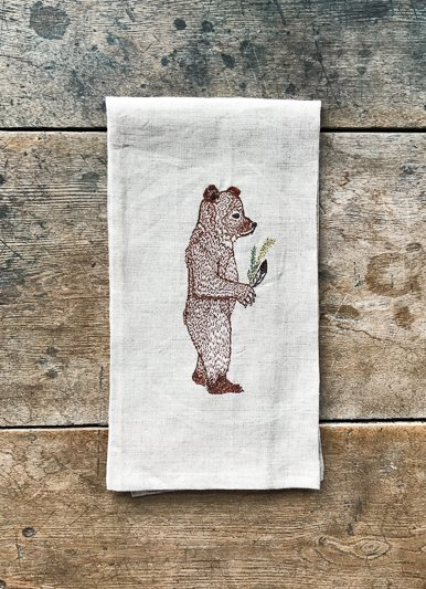 Coral & Tusk Giving Bear Linen Tea Towel