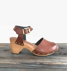 lisa b. Tan Ankle Strap Leather Clog