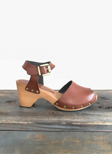 lisa b. Tan Ankle Strap Leather Clog