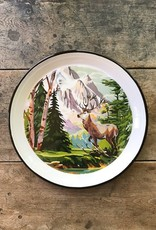 Creative Co-op Round Enamel Deer Tray