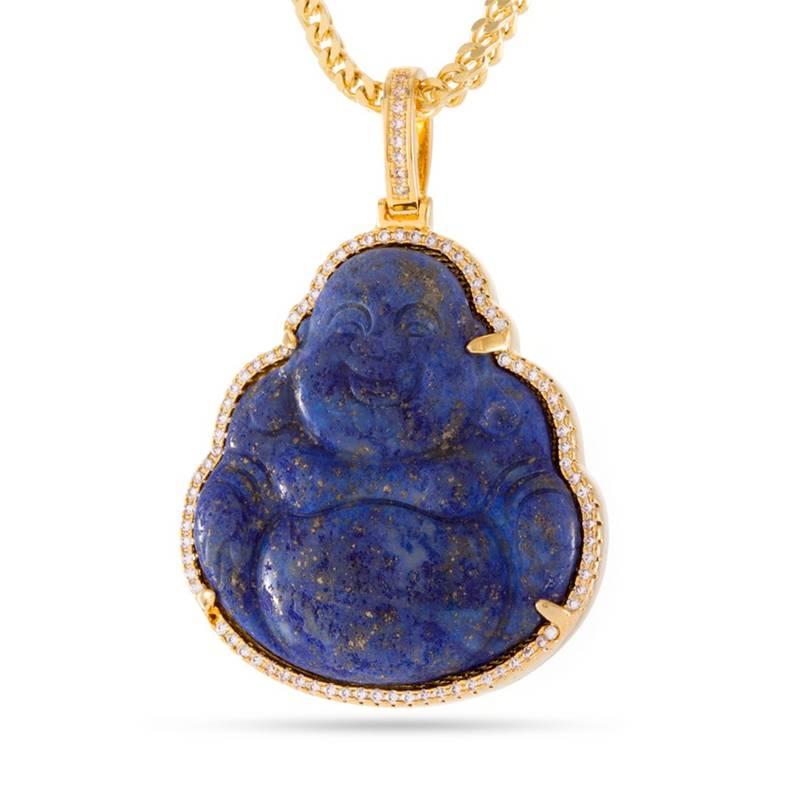 King Ice King Ice Gold Buddha Gemstone Necklace
