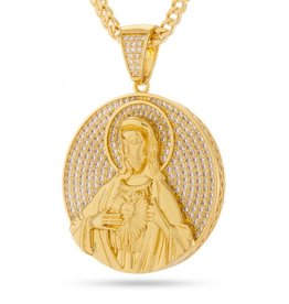 King Ice King Ice Sacred Heart Jesus Medallion Necklace